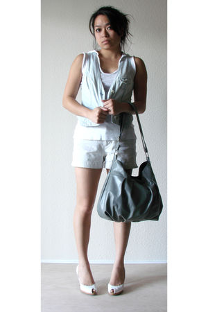 blue American Eagle vest - white Gap top - beige Gap shorts - white Kenneth Cole