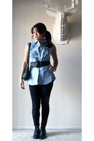 blue vintage blouse - black LAMixx leggings - black Jenny N Design purse - black