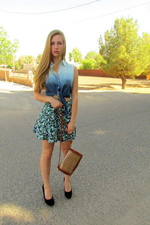 sky blue ombre tie-front Forever21 blouse - bronze studded Orange Caramel bag