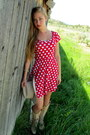 Camel-cowboy-boots-red-polka-dot-monteau-los-angeles-dress-camel-cowboy-hat