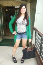 green Topshop cardigan - Mango top - black Forever 21 belt - crissa shorts - bla