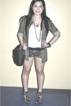 green Zara jacket - white Topshop top - JUZ FUR K shorts - Nine West shoes - bla