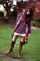 tribal Forever 21 bag - tawny knee highs Charlotte Russe boots - Roxy sweater