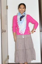 pink and knit H&M sweater - printed spring H&M scarf - red timex watch