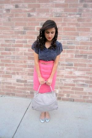 blouse - silver flats flats - pink skirt skirt - metalic bet belt
