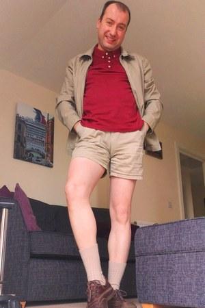 John Lewis jacket - Clarks shoes - brick red polo next shirt