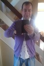 Blue-h-m-jeans-white-oxford-burtons-shirt-purple-vincenzo-boretti-cardigan