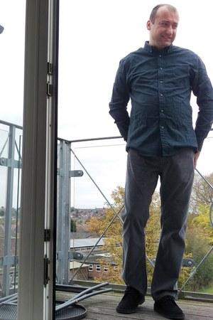 oxford teal Burton shirt - black suede Clarks shoes - Marks & Spencer pants