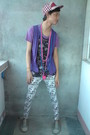 Purple-top-blue-accessories-red-f-h-hat-white-korean-store-leggings-silv