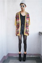 black jordache shorts - light orange bab cardigan - black 5cm top