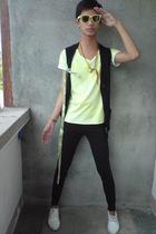 F&H sunglasses - landmark vest - paporma shirt - leggings - WADE shoes