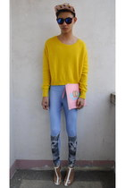 yellow H&M sweater - bubble gum Bershka bag