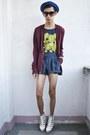 Blue-forever-21-shorts-white-asianvogue-shop-wedges