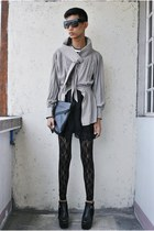 black asianvogue shop boots - heather gray laurence tang blazer