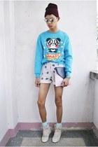 miki  miki sweater - gifi clothing bag - be bop clothing shorts - Topshop wedges