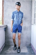 navy Urban Outfitters shoes - navy Riot shirt - blue DIY shorts - black random f