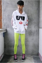 chartreuse People are People leggings - white Customized jacket