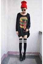 black chun chun sweatshirt - black Fivebyfive wedges
