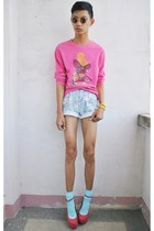 light blue kidflo shorts - bubble gum asianvogue shop wedges