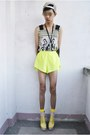 Yellow-gifi-clothing-top-bubble-gum-parisian-heels
