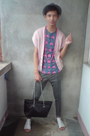 Penshoppe shirt - from a friend vest - thrifted leggings - empire-orrinc purse -
