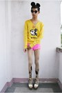 Yellow-disney-sweater-ivory-andre-chang-x-f-h-heels