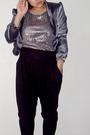 Silver-shanghai-road-jacket-silver-time-square-dress-black-zara-pants