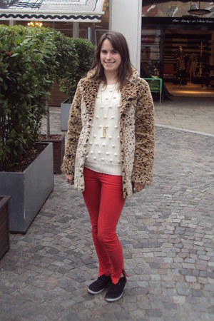 mustard Motel coat - red Zara jeans - cream asos jumper
