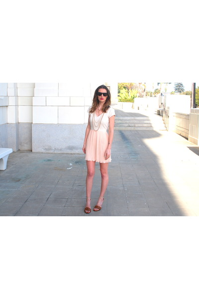 peach Urban Outfitters dress - bronze leather heels Mia heels