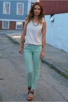 aquamarine spray on skinny Blank Denim jeans - neutral sequin JCrew shirt