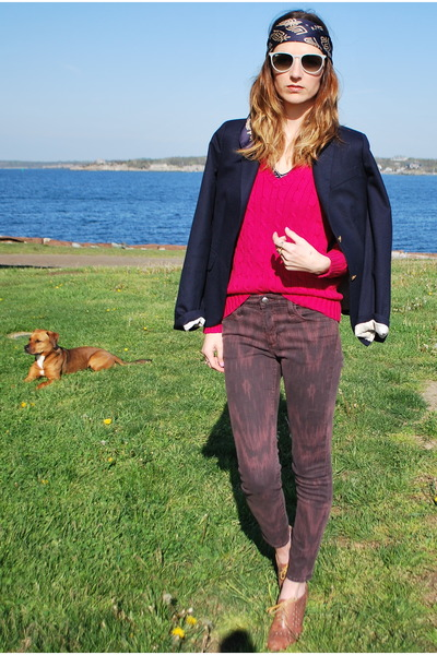 hot pink cable knit Ralph Lauren sweater - navy schoolboy JCrew blazer