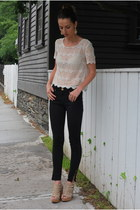 black Zara jeans - white lace TJ Maxx shirt
