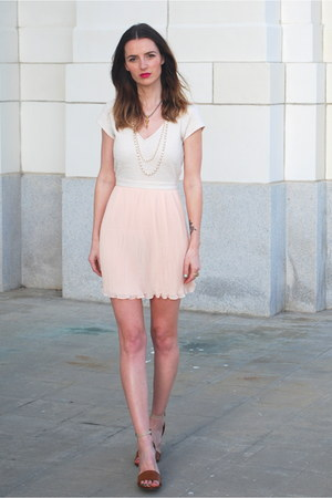 peach chiffon urban outftters dress - brown heels mia shoes heels