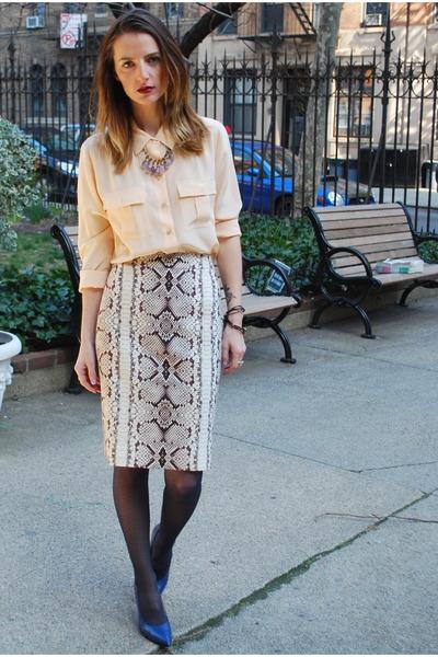 silk JCrew blouse - JCrew skirt - leather Nine West pumps