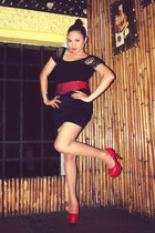 red Yi Yi Shoes pumps - black Glamdiva Collections skirt