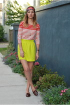 yellow city mini JCrew skirt - red striped tee J Crew shirt