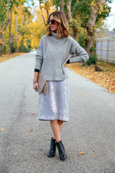 silver sequin French Connection skirt