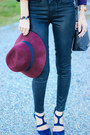 Black-coated-paige-jeans-crimson-fedora-david-young-hat