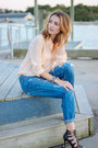 Blue-boyfriend-joes-jeans-jeans-peach-silk-jcrew-blouse-black-justfab-heels