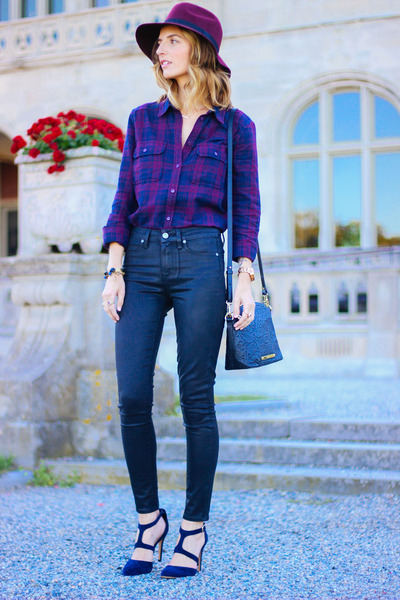 deep purple plaid Paige shirt - black coated Paige jeans