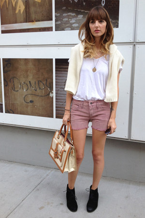 ankle boots DV by dolce vita boots - white tee James Perse shirt - brahmin bag