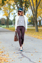 white striped talbots shirt - crimson coated madewell jeans