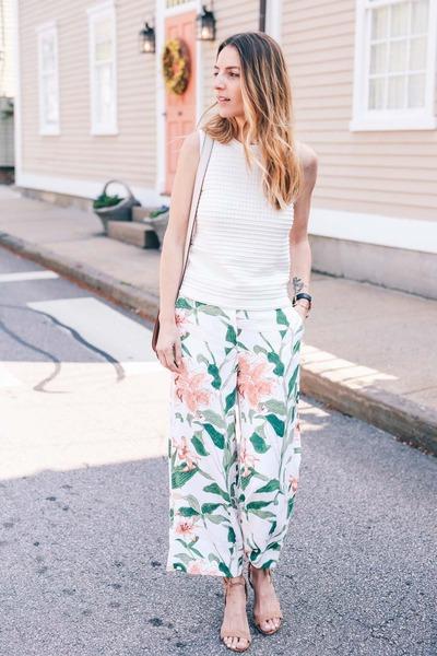 pink floral ann taylor pants - white knit ann taylor top