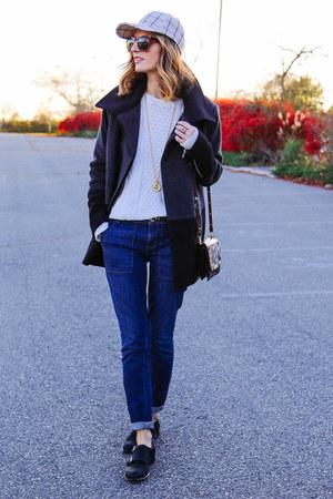 navy pea coat Nautica coat - blue boyfriend Nautica jeans