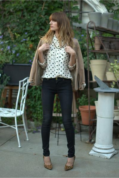 white silk JCrew blouse - black J Brand jeans - camel wool JCrew blazer
