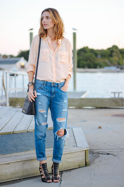 peach silk JCrew blouse - blue boyfriend Joes Jeans jeans - black JustFab heels