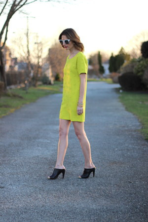 black mules French Connection shoes - lime green shift Darling dress