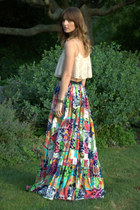 blue maxi skirt JCrew skirt - neutral lace bralette Marshalls top
