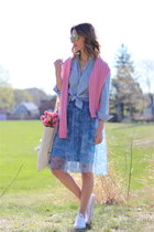 light blue chambray JCrew shirt - sky blue tulle French Connection skirt