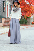 heather gray maxi skirt eShakti skirt - black fedora Sole Society hat